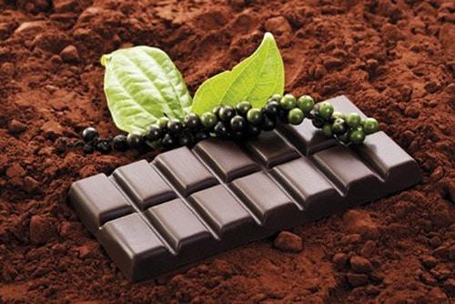 Chocolade op een laag cacao.